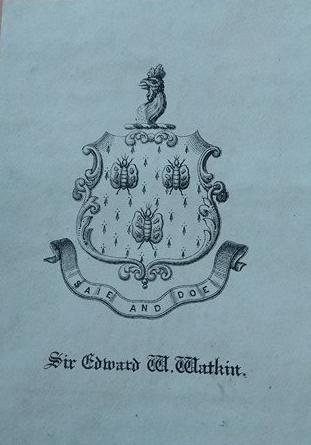 Bookplate of MP Sir Edward W. Watkin