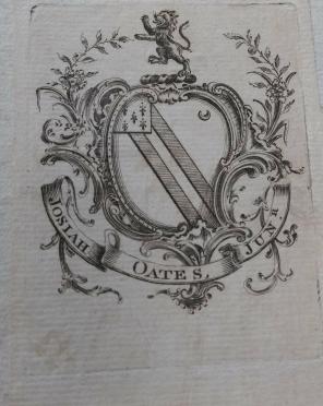 Bookplate of Josiah Oates