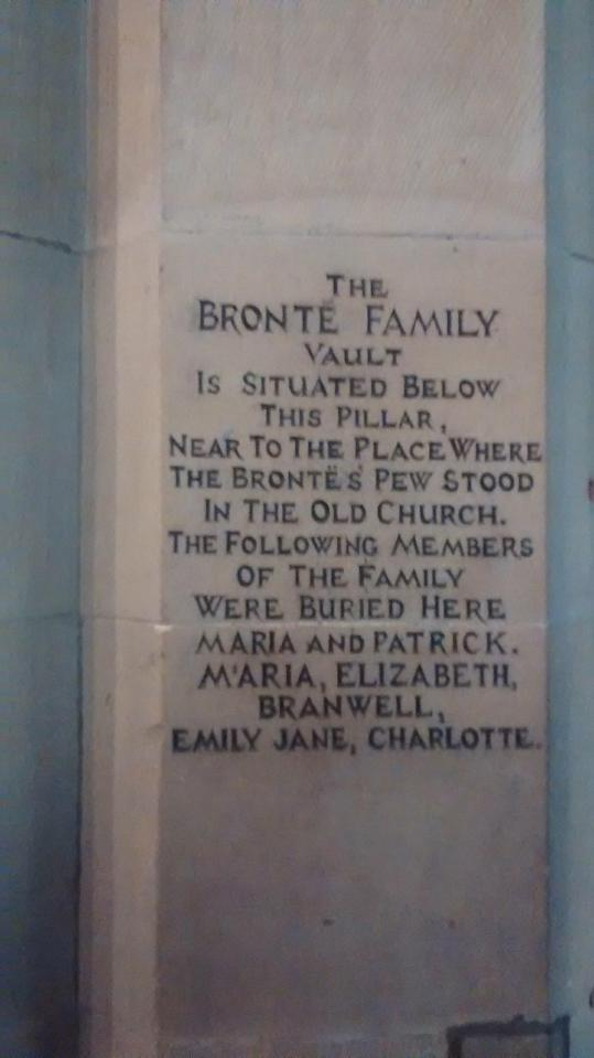 Brontë memorial inside St. Michael and All Angels' Church, Haworth