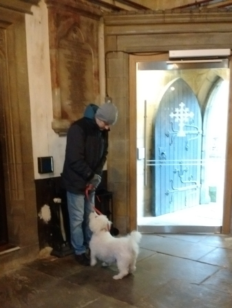 Bob inside St. Michael's and All Angels' Church. Don't tell anyone; he's very well behaved.