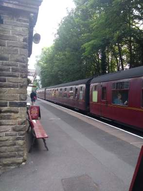 Train arriving at Haworth